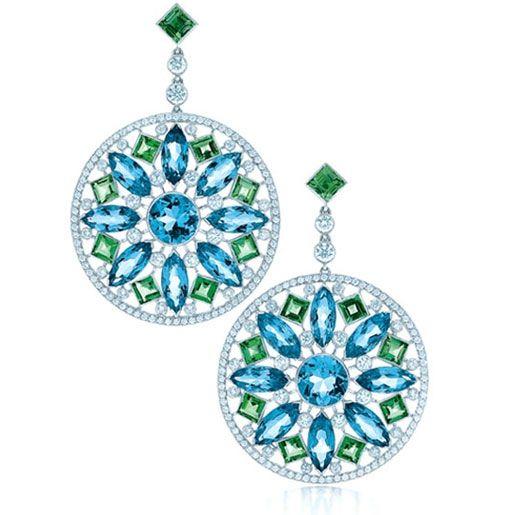 Tiffany & Co. acquamarine & green tourmaline earrings in platinum