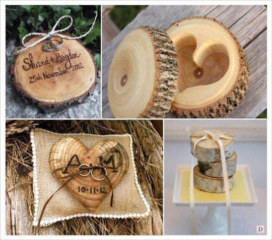 mariage automne décoration coussin alliances rondin