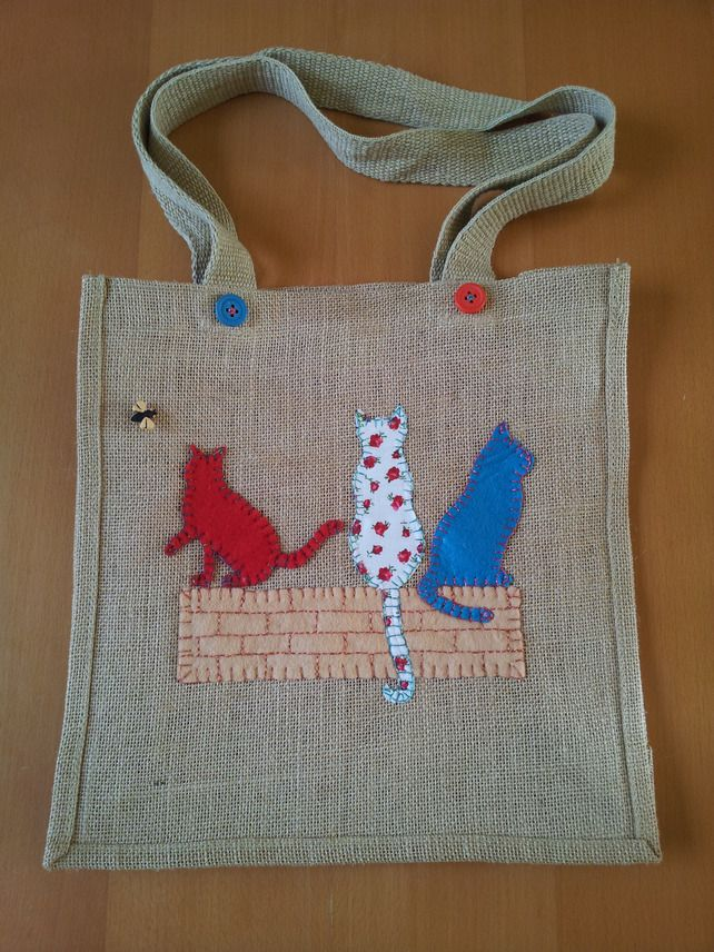 Hand appliquéd & embroidered Cats Jute shopping, tote bag   by Rainy Day Crafts