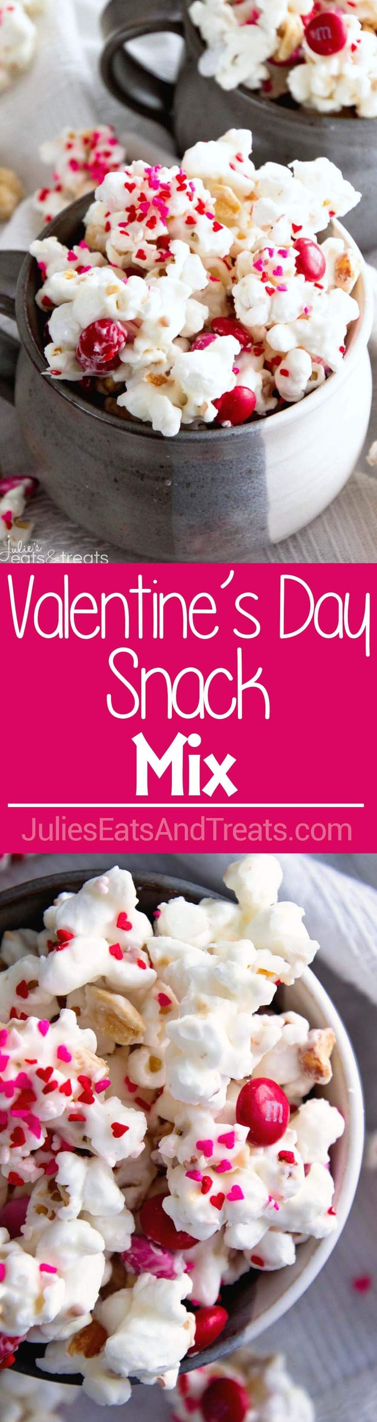 Valentine Snack Mix ~ Popcorn, Peanuts and M&M's coated in White Almond Bark! An Easy Sweet Snack for Your Sweetie! via @julieseats