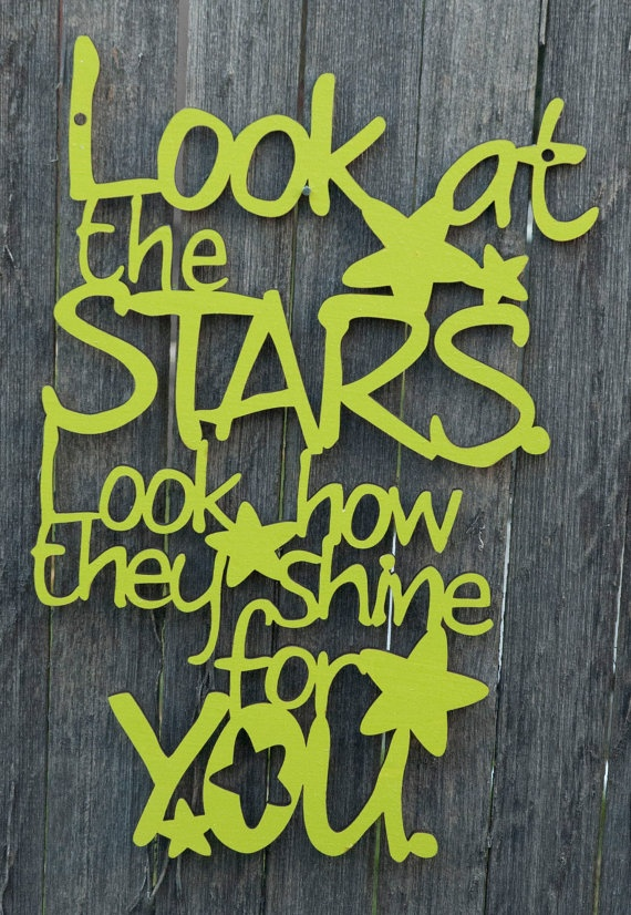 "Coldplay ""look at the stars, look how they shine for you"". So precious for the nursery!"