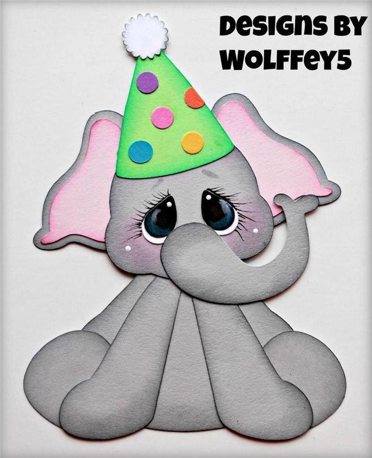 ELITE4U BIRTHDAY ELEPHANT paper piecing premade scrapbook page album  WOLFFEY5