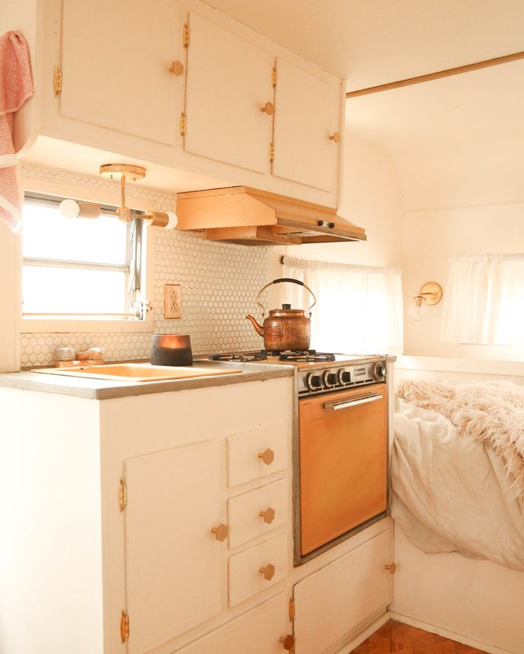 vintage camper renovation kitchenette