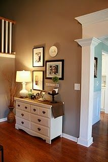 When we add crown molding in living room area, paint side of dining room ceiling white and add crown on top. Mimicking this picture.