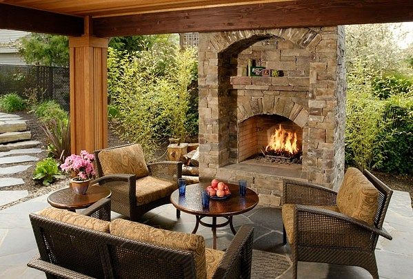 Cheap landscaping ideas for back yard landscaping for Back porch fireplace