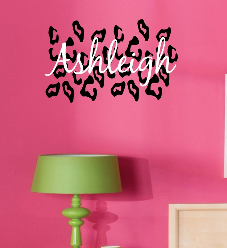 Leopard Print W Custom Name Viny Wall Decal Lettering. $27.99, Via Etsy. Part 53