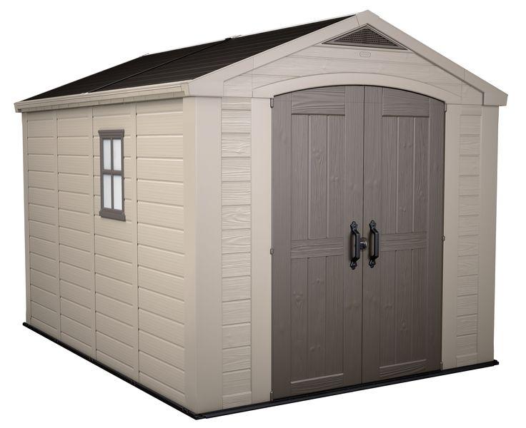 AKI+Bricolaje,+jardinería+y+decoración.+ Caseta+resina+FACTOR+8X11+ Caseta+de+resina+con+una+superficie+total+de+8,47+m<sup>2</sup>.+Gran+capacidad+de+almacenamiento,+ideal+para+almacenar+y+proteger+todo+su+equipo+de+jardinería.+Incluye+suelo,+puerta+doble,+ventana,+rejilla+de+ventilación,+lucerna+superior+y+sistema+de+canalón+de+recogida+de+agua.+Trae+incorporadas+dos+escuadras+y+dos+estanterías+de+0,9m.
