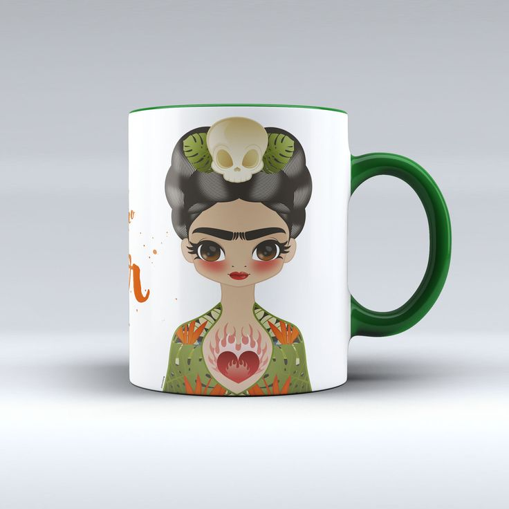 "Celebrate the iconic artist with every sip! ""Pies para qué los quiero si tengo alas para volar."" ~Frida Kahlo (Feet, what do I need them for if I have wings to fly.) - 11 oz. (Hard Coated) coating. -"