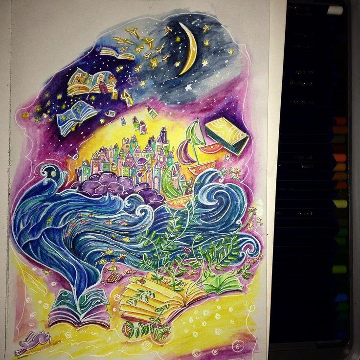 """""""Koniec urlopu, to i skończona kolorowanka :) wyspy są cudne:) #kolor #kolorowanka #kolorowanki #kolorowanie #kolorujemy #kredkiakwarelowe #kredki…"""""""