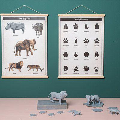 Little and Pure poster praatplaat The Big Five. Shop bij ons de leukste producten voor de baby- en kinderkamer!