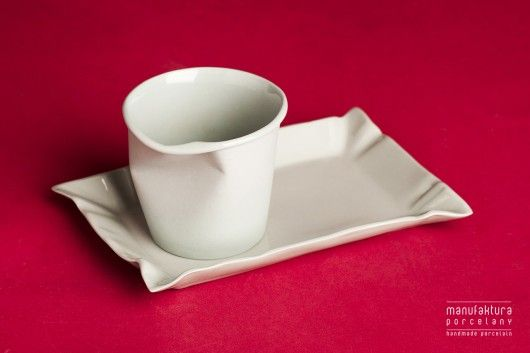 porcelana i szkło - talerze-Kubek Paper Cup S + Talerzyk Paper Plate biały