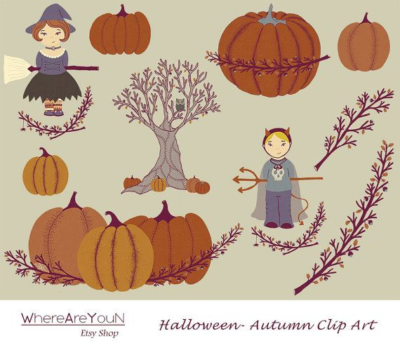Halloween Autumn Clip Art by WhereAreYouN on Etsy, €1.50