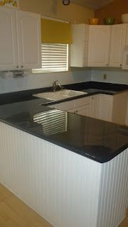Kitchen Counter Renovation-How to Paint and Seal You Countertops to Look Like Granite. I am going to do this in my new laundry area with this old weird counter I got from my cabinets I refinished last year.