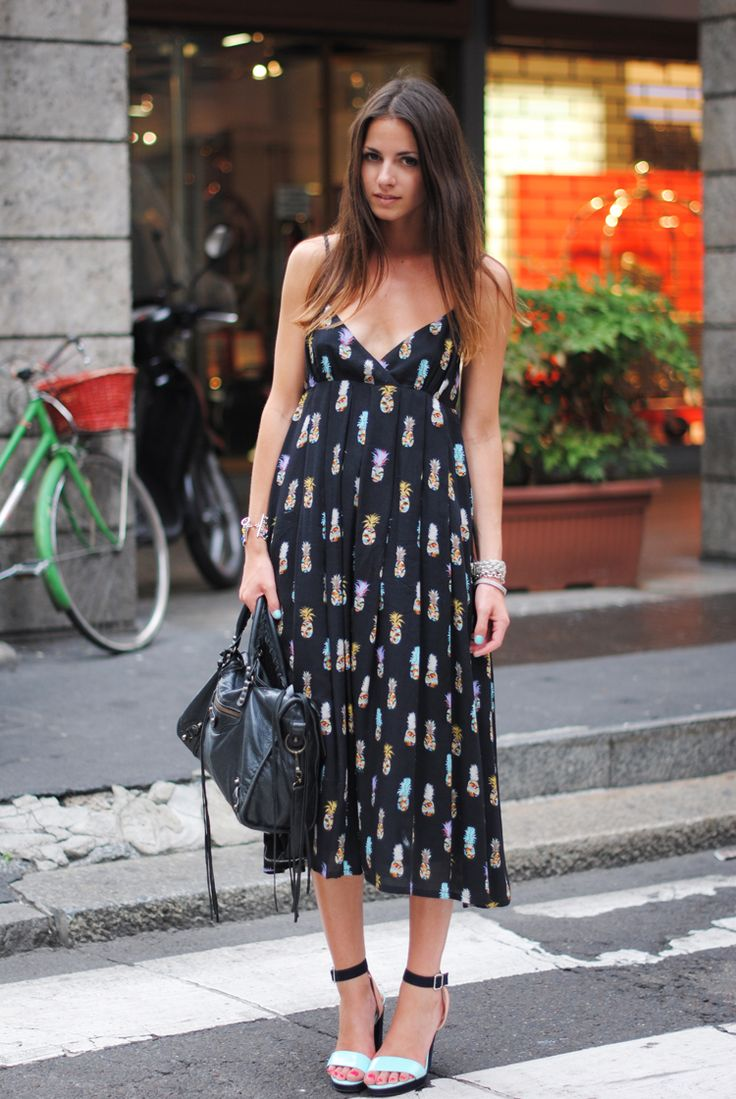 Summer: Long Dresses, Street Fashion, Summer Dresses, Prints Dresses, Flowy Dresses, Pineapple Prints, Summer Maxi, Milan Fashion Week, Pineapple Dresses