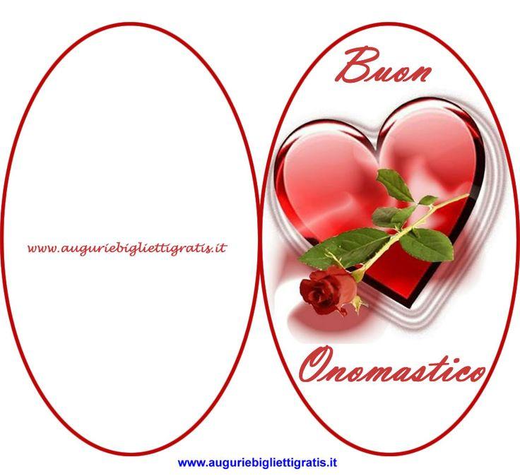 biglietto ovale di buon onomastico con cuore e fiore rosso