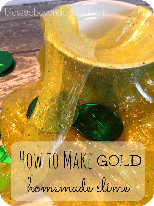 How to make homemade slime that is gold! It's easy and keeps the kids busy!