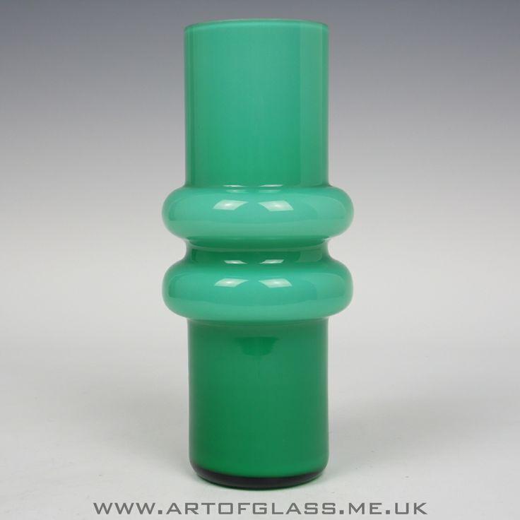 Green cased glass vase