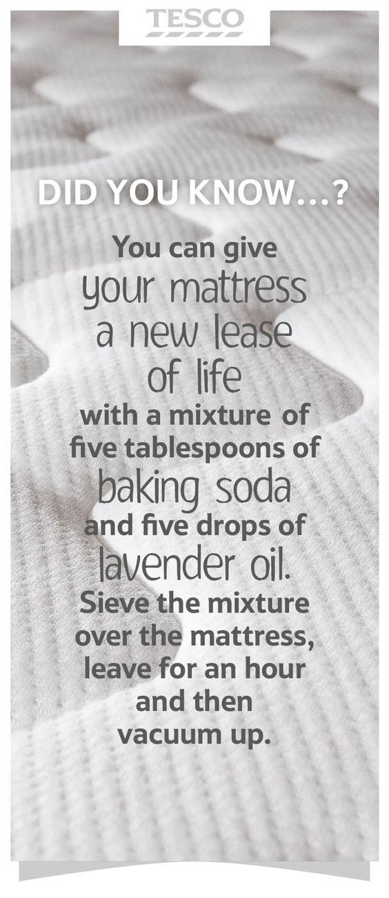 Spring cleaning tips: Refresh your bedroom mattress with a DIY mix of baking soda and lavender oil – sieve over the mattress, leave for an hour and vacuum up. | Tesco Living