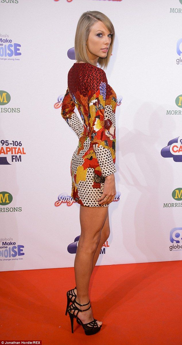 Star style: She matched the look with a pair of killer stiletto heels and some jet-black nail polish