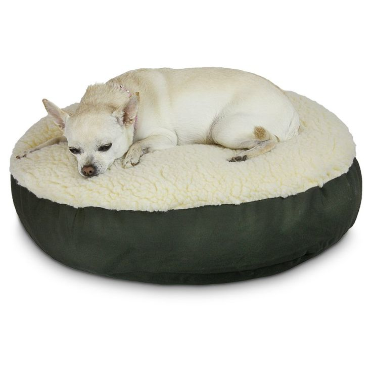Snoozer Round Dog Bed with Sherpa Top Olive - 91308