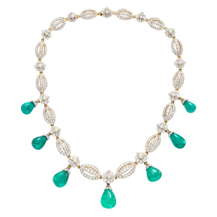 T.B. STARR Antique Emerald and Diamond Necklace