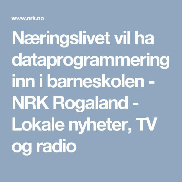 Næringslivet vil ha dataprogrammering inn i barneskolen - NRK Rogaland - Lokale nyheter, TV og radio