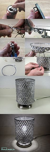 Recycling / DIY soda can tabs lamp