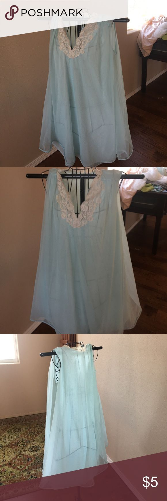 Light blue Vintage Nightie s/m So sheer and pretty, no label so cute and filmy with a touch of Lace. unknown Intimates & Sleepwear Chemises & Slips