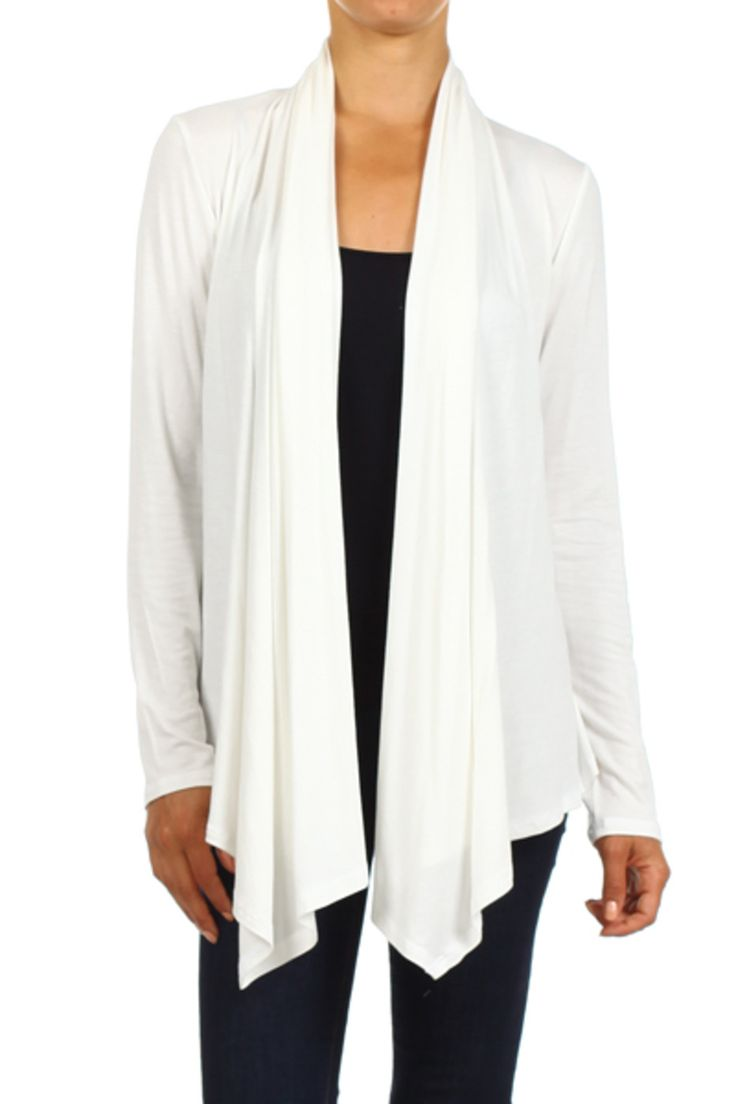 Draped Long Sleeve Open Front Cardigan