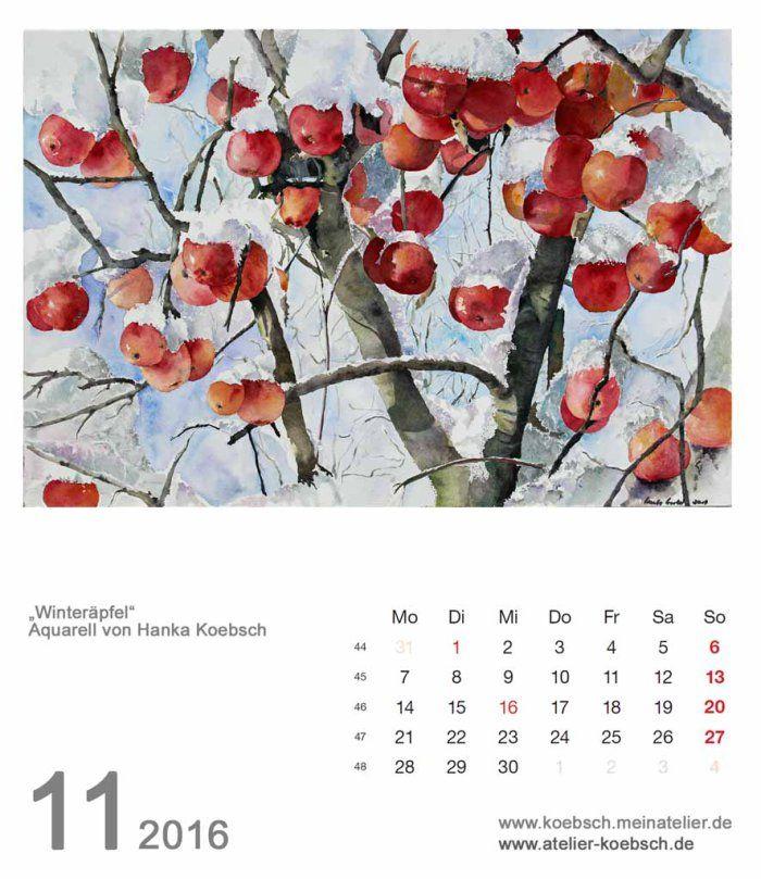 Kalenderblatt November 2016 | Bilder, Aquarelle vom Meer & mehr - von Frank Koebsch