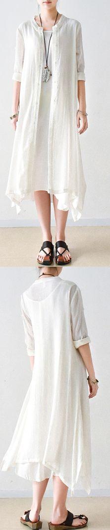 new white stylish linen dresses casual  half sleeve maxi dress