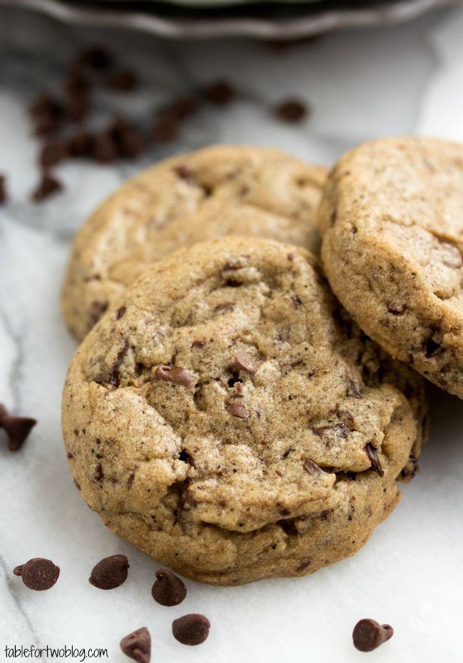Cafe Mocha Cookies. Made with butter, dark brown sugar, sugar, eggs, vanilla, all-purpose flour, bread flour, cornstarch, baking soda, salt, coffee grounds, and mini chocolate chips.