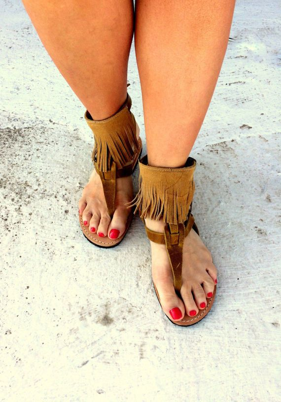 tampa greek sandals / aelia/tassel sandals boho/ mustard color