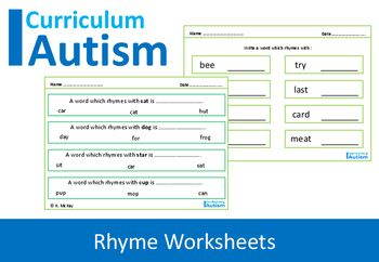 Rhyming Words Worksheets for students with autism and special needs.This set…