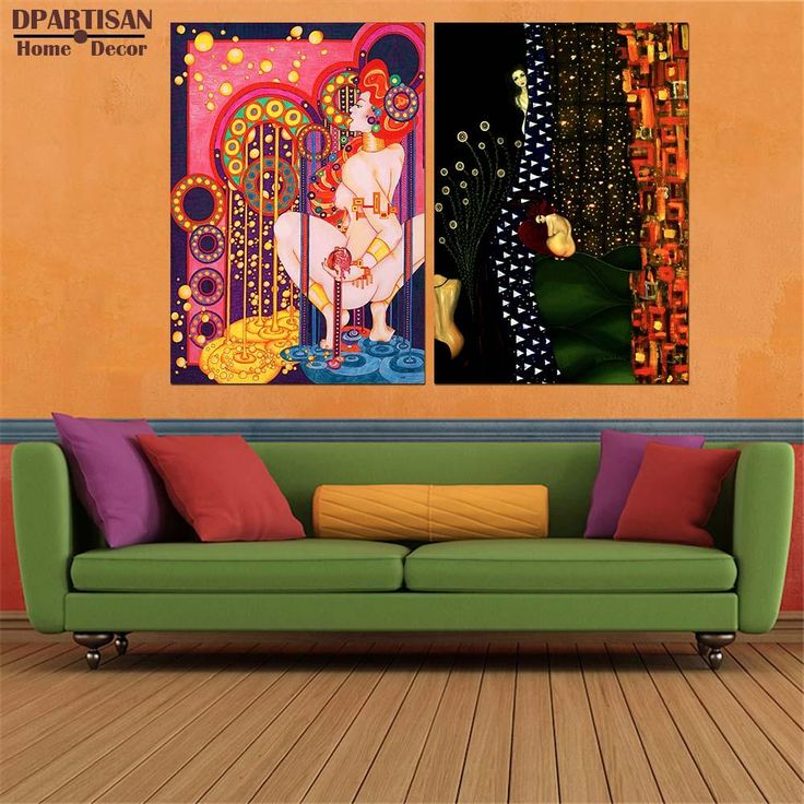 living room art prints%0A DPARTISAN oil print canvas wall art decor pictures red head portrait lady  By Gustav klimt wall