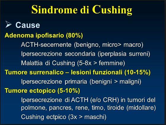Cause di Sindrome di Cushing: Tumore Ipofisario ( Malattia di Cushing); Tumore Surrenalico; Tumore Ectopico dell'apparato neuroendocrino