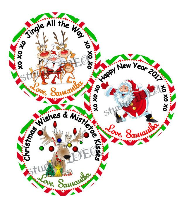 """Custom Christmas 2.5"""" Printable Tags-Toppers - Cute Santa Claus & Reindeer  Wishes Personalized Tags, DIY (You Print) 2.5"""" tags-Digital File by StudioIdea on Etsy"""