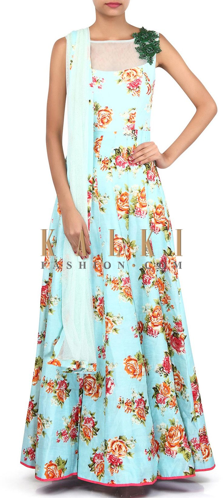 Buy Online from the link below. We ship worldwide (Free Shipping over US$100). Product SKU - 306540. Product Link - http://www.kalkifashion.com/sky-blue-printed-gown-adorn-in-embroidered-butti-only-on-kalki.html
