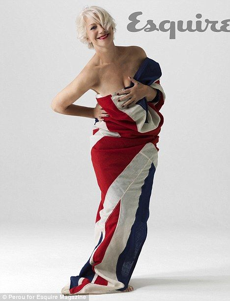 That's a wrap! Helen Mirren leaves little to the imagination as she gets tangled up in a Union Flag for sexy and patriotic shoot. Aged 65