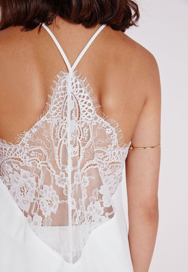 Missguided - Eyelash Lace Back Cami White