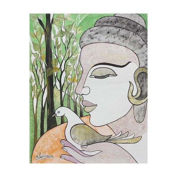 NOVICA Peace Theme Painting of Buddha with a Dove (¥48,640) ❤ liked on Polyvore featuring home, home decor, wall art, modern and freestyle, paintings, pastel, leaves wall art, bird painting, buddha home decor and bird home decor