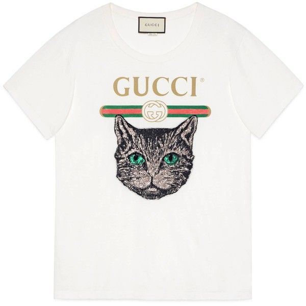 Gucci Logo T-Shirt With Mystic Cat found on Polyvore featuring tops, t-shirts, ready-to-wear, sweatshirts & t-shirts, women, logo t shirts, white tee, cat t shirt, oversized tee and white top