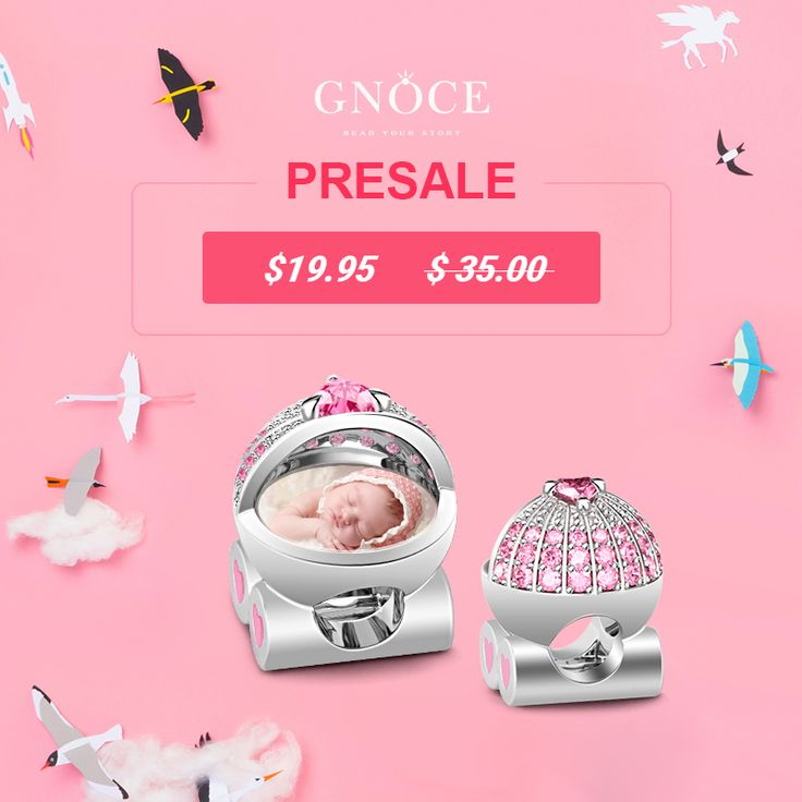 Pink Pram photo charm PRESALE Only $19.5. Buy now save $15.5 Order now: http://www.gnoce.com/baby-s-pink-pram-photo-charm-bqcs50.html Deliver on June 6th