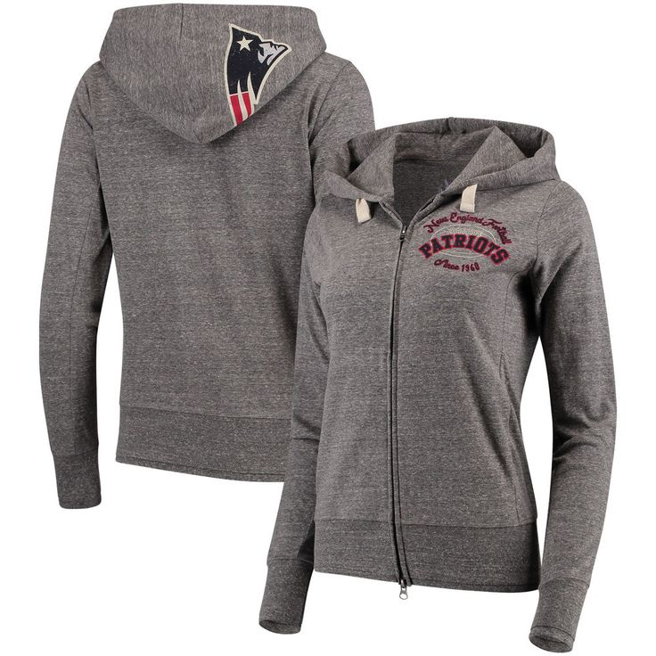 New England Patriots Touch by Alyssa Milano Women's Maverick Full-Zip Tri-Blend Hoodie - Gray