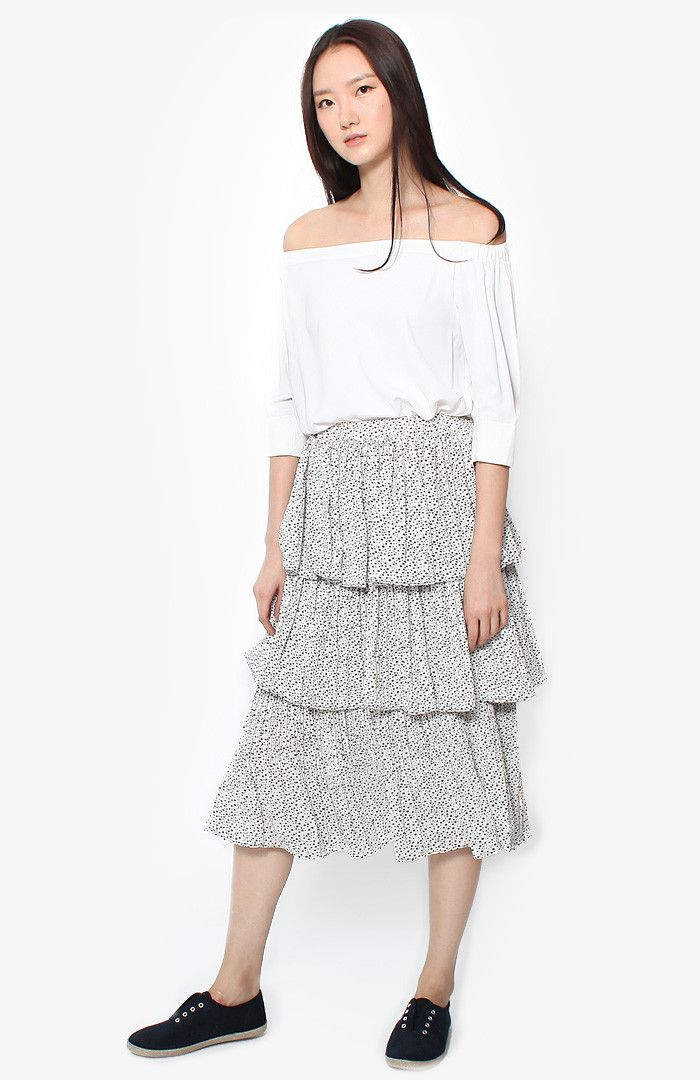 Anais Tiered Skirt - White
