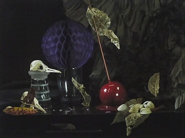 Fiona Pardington  Still Life with Dead Leaves, Bird Skulls and Candied Apple, Leigh , 2015 Inkjet print on Epson Hot Press 310gsm cotton rag Dimensions variable Edition of 10  _______