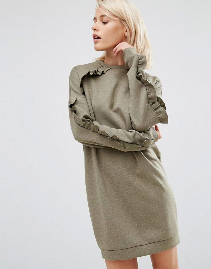 Image 1 of ASOS Sweat Dress with Frill Detail