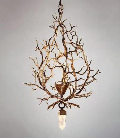 a chandelier with huge rock crystal drop by herve van der. Black Bedroom Furniture Sets. Home Design Ideas