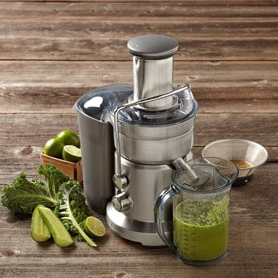 Breville Dual-Disc Juice Extractor on Williams-Sonoma.com. Once I get this, I don't have to BUY juice anymore! Yes! Financial freedom...so to speak.