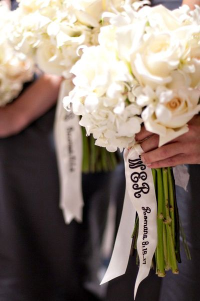 Embroider your bridesmaid's initials on their bouquet ribbon to personalize their blooms. You can even select a special quote or Bible verse that is a reflection of your friendship